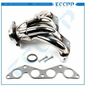 For 01 05 Honda Civic Ex 1 7l Sohc Polished S s Racing Manifold Header Exhaust