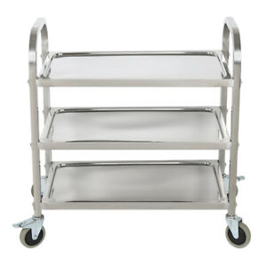 32 X 16 X 32 Stainless Steel Commercial Three 3 Shelf Utility Kitchen Cart Us