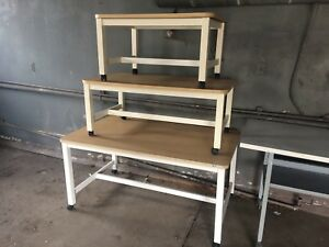 Set Of 3 Rolling Tables Retail Store Commercial Display Clothes Metal Wood