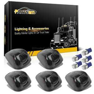 5pc Smoke 264143bk Roof Cab Lights 5050 T10 Blue Leds For Ford F 250 F 350 99 16