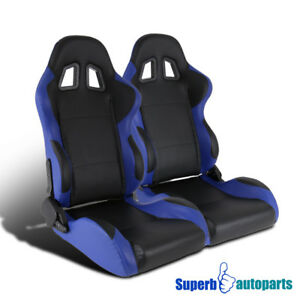 Blue black Pvc Leather Buckle Sport Racing Seats W Sliders Pair Left right