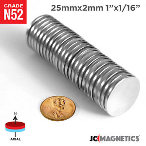25 Mm X 2 Mm 1in X 1 16in N52 Super Strong Disc Rare Earth Neodymium Magnet