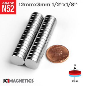 12 Mm X 3 Mm 1 2in X 1 8in N52 Super Strong Rare Earth Neodymium Magnet Disc
