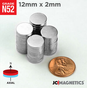 12 Mm X 2 Mm 1 2in X 1 16in N52 Super Strong Rare Earth Neodymium Magnet Disc