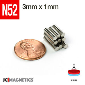 3 Mm X 1 Mm 1 8in X 1 32in N52 Rare Earth Neodymium Small Crafts Magnet Disc