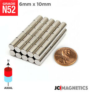 6 Mm X 10 Mm 1 4in X 3 8in N52 Super Strong Disc Rare Earth Neodymium Magnet