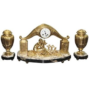French Art Deco Gilt Clock Garniture Set Signed Limousin Circa 1940s