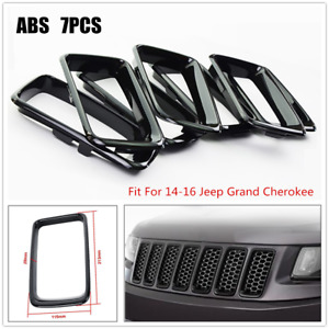 Fits 14 16 Jeep Grand Cherokee Black Grill Grille Inserts Ring 7pcs Set Kit Trig