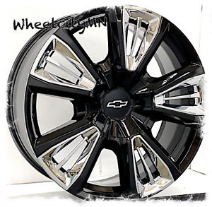 22 Inch Gloss Black Chrome Inserts 2015 Chevrolet Tahoe Ltz Oe Wheels Rims 6x5 5