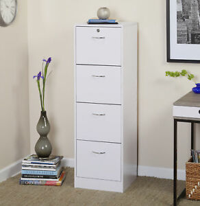 4 Drawer Vertical Wood Lockable File Cabinet White Filing Organizer Home Office