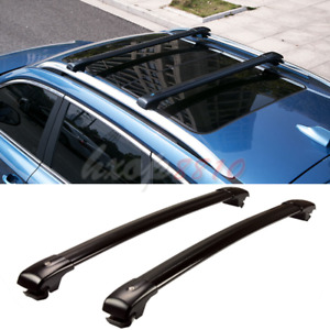 2pcs For Jeep Liberty 2004 2008 Black Alloy Roof Rack Cargo Carrier Cross Bar