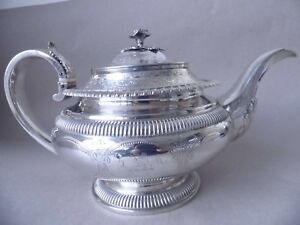 Gorgeous Large Georgian Sterling Silver Flowers Scrolls Teapot 1824