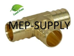 1 Pex Tee Brass 1 Inch Crimp Fitting Lead Free Lot Of 50