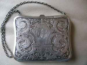 Antique Victorian Art Nouveau Fish Silver P Card Case Coin Purse Monogram Agw