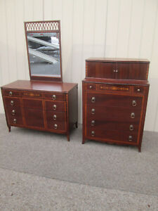 58499 T1 Antique Inlaid Mahogany High Chest And Dresser With Mirror
