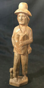 Vtg Hand Carved Wood Barefoot Hobo Man Carrying Bag Has Satchel With Dog