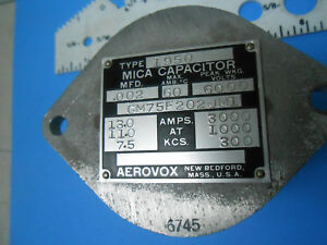 Cm75fp202jm1 Type 1950 Mica Capacitor Aerovox 002 Mfd 6000v New Old Stock