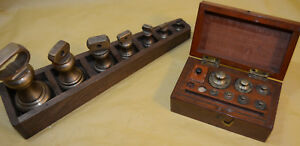 Vtg Set Of 2 Various Graduated Brass Weights In Wood Boxes
