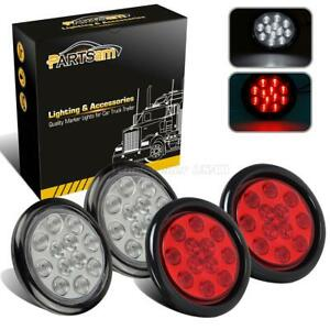 4pc Utility Stop Tail Turn Reverse Fog Marker Light Rubber Mount Red White 12led