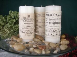 12 Candle Wraps Music Vintage Look Aged Tea Stained Paper Decor W Twine Ties