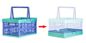 Cart buddy 31 Liter Collapsible Folding Shopping Bin Carry Basket Tote Handle