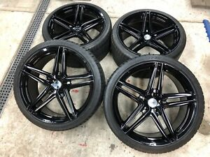 Satin Black 22 Inch Hre Wheels 940rl Pirelli Tires Tpms E70 F15 X5 X5m