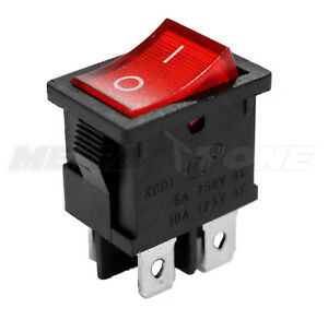 Dpst Kcd1 Mini Rocker Switch On off W red Lamp 6a 250vac T85 Usa Seller