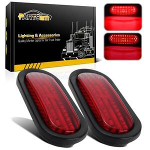 2 Trailer Truck 45led Sealed Red 6 Oval Stop Turn Tail Light Marine Waterproof