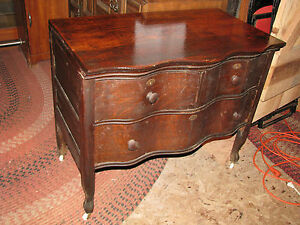 Antique Wavy Front Oak Chest Bureau Dresser On Castors