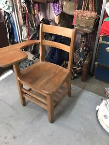 Vintage 1960 S Wooden Student S School Chair Attached Desk