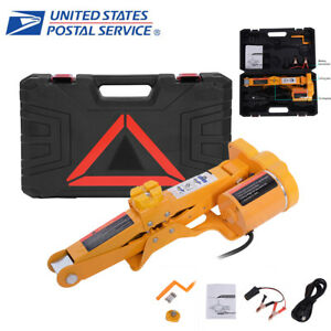 Heavy Duty Electric Scissor Auto Car Jack Lift 2ton 4400lbs Impact Wrench Dc 12v