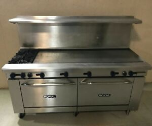 Royal 72 Range 60 Griddle 2 Open Burners 2 Full Commercial Ovens Stove Nat Gas