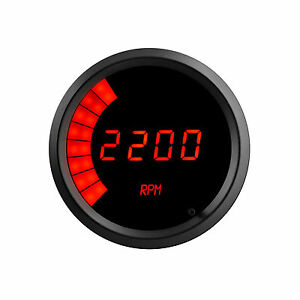 3 3 8 Universal Memory Digital Tachometer Bargraph Gauge Red Led Black Bezel