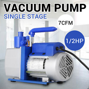 Single Stage 7 Cfm 1 2 Hp Rotary Vane Deep Vacuum Pump Hvac Ac Air Freon Tool
