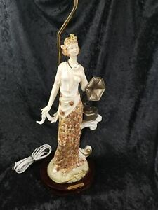 Vintage Ok Collection Music Lady Woman Gramophone Resin Statue Desk Lamp Rare