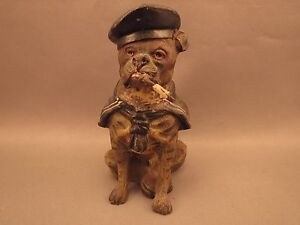 Heyde Spelter Bulldog In A Sailor S Outfit Sitting Pipe In His Mouth