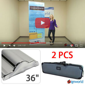 Retractable Roll Up Banner Stand Height Adjustable Display Sign Hd 36 2 Pcs