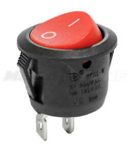 Spst Kcd1 On off Round Mini Rocker Switch W red Actuator 6a 250vac Usa Seller