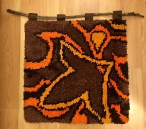 Mid Century Low Pile Shag Wall Hanging In Brown Orange And Gold