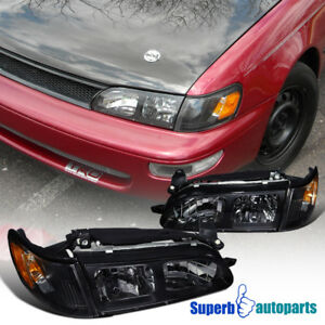 Fit 1993 1997 Toyota Corolla Jdm Head Lights Lamps Black W Corner Lamps Pair