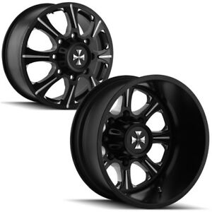 Set Of 6 Cali Offroad Brutal Dually 22 8x6 5 Black Wheels Rims Lugs Included