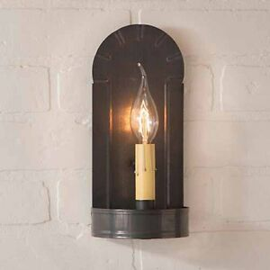 Fireplace Single Arm Wall Sconce In Blackened Tin By Irvin S Country Tinware