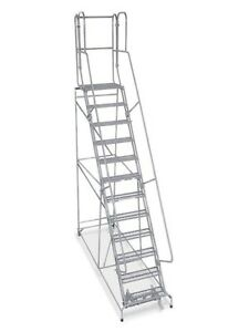 12 Step Steel Rolling Warehouse Ladder Made In Usa 10 Elevation