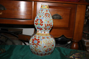 Chinese Porcelain Pottery Vase Gourd Shape Painted Floral Scrolls Signed Bottom
