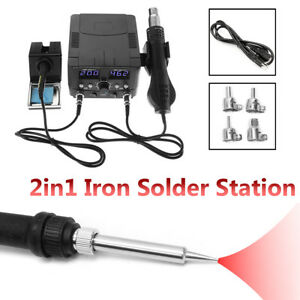 110v 2in1 Soldering Iron Rework Stations Hot Air Gun Desoldering Repair Welder