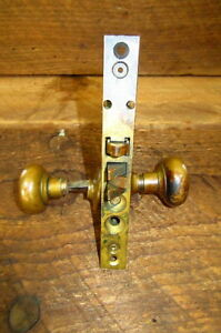 Vintage Brass Mortise Lock With Brass Door Knobs Reclaimed Salvaged Hardware