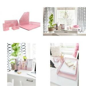 Blu Monaco Pink Desk Organizer For Women 5 Piece Desk Accessories Set Letter
