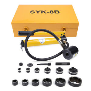10 Ton 6 Die Hydraulic Knockout Punch Driver Kit Hole Hand Tool Conduit 1 2 m