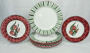Lot 6 Grazia Deruta Pottery Plates Made in Italy 1994 SaladDinner Plate Charger