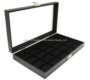 1 Glass Top 20 Space Black Jewelry Pins Arrowheads Display Case 3 More Liners